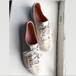 Cream/Off-White Canvas Lace Up Keds